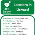 Poster showing location of defibrillators in Liskeard