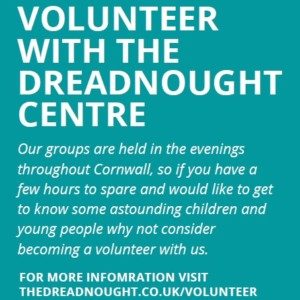 Poster about volunteering with the Dreadnought Centre with a link to the volunteer page on their website
